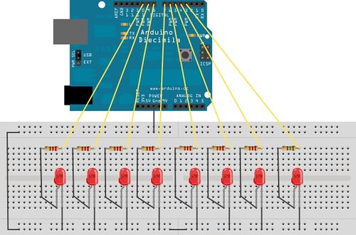 Breadboard Layout 8 LEDs