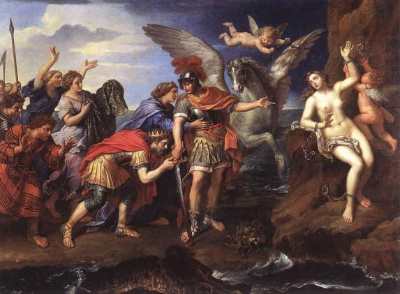 Perseus by Pierre Mignard,1679, similar to traditional representations of St George