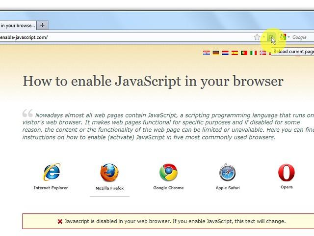 """Infine clicca sul pulsante del browser """"Reload current page"""" per aggiornare la pagina."""