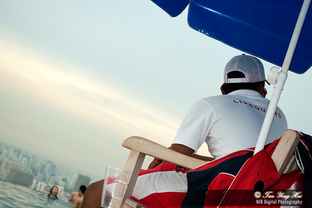 Singapore, Marina May Sands Skypark, busy life guard