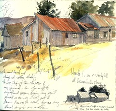 Vassmer's Milk Barn--ink, watercolor, watercolor pencil