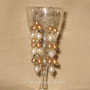 White and Gold Pearl Earrings
