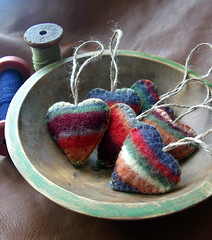 stripes (lilfishstudios) Tags: hearts recycled handmade stripes ornaments etsy repurposed feltedsweater lilfishstudios
