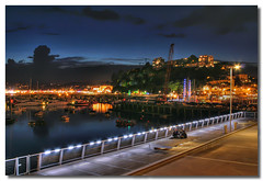 Torquay Harbour (Roger.C) Tags: sea people water night canon dark boats lights harbour crane dusk devon 1855mm torquay hdr pavillion 30d 1exp anawesomeshot aplusphoto