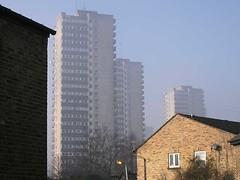 Towers in the mist (pukkagen) Tags: mist london sunrise towerblock brentford greendragonlane