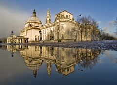 City Hall, Cardiff (wentloog) Tags: city uk morning reflection water wales canon easter puddle eos dawn early interestingness gallery britain cityhall empty cardiff explore civic 5d bankholiday wfc carfree goodfriday aspherical 14mm canoneos5d tamron14mm wentloog welshflickrcymru stevegarrington tamron14mmf28 world100f