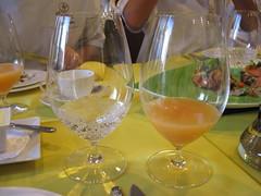 Pierre Hermé: Sparkling water and Orange juice