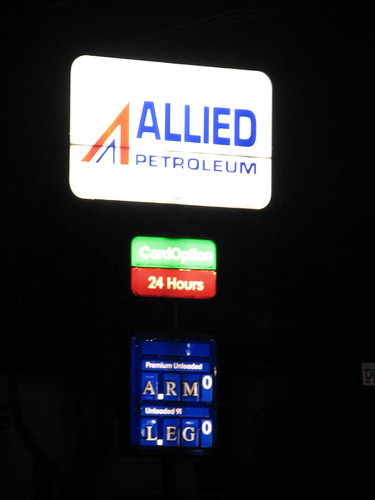 Petrol Station price listings at a petrol station where prices are 'ARM' and 'LEG'