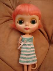 white/aqua crochet dress
