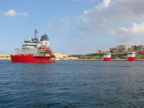 Submersible ship in Grand-harbour in Malta.