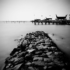 China-Sea-Town (AAfap) Tags: longexposure trip travel houses sea bw white seascape black art beach water port d50 indonesia square lens asian nikon rocks asia squares fineart tripod sigma wideangle filter jakarta 1020mm ancol sq bnw squared sigma1020mm longexp تصوير مصور ageel فوتوغرافي عقيل bwsquare