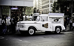 ice cream truck on union square brodway (Asen Todorov) Tags: nyc newyork ford truck 35mm square prime nikon manhattan union retro icecream f2 oldtruck d80