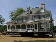 WE JUST BOUGHT A MOBILE HOME (NC Cigany) Tags: old sky house home water museum moving waterfront wwii gray navy relocation mansion trailer battleship thisoldhouse antebellum raleighnc preservation rehab capefearriver refurbish 1247 20080628