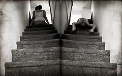Free Fall / Day 347 Year 2 (sadandbeautiful (Sarah)) Tags: portrait bw woman selfportrait texture me female stairs self diptych yeartwo 365days lastyearofmythirties soimthinkingalotaboutwhatiwanttodowiththisyearbeforeiturn40 day347y2 iturn39yearsoldtomorrow thatsfuckingwithmyheadabit
