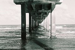 Padre Balli Park and Bob Hall Pier (35 mm Black and White Film) (psanchodog) Tags: padreisland blackdiamond bobhallpier corpuschristitexas padreballipark pathscaminhos