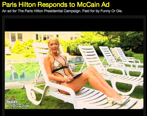 Paris Hilton Campaign Commercial, Responds to McCain