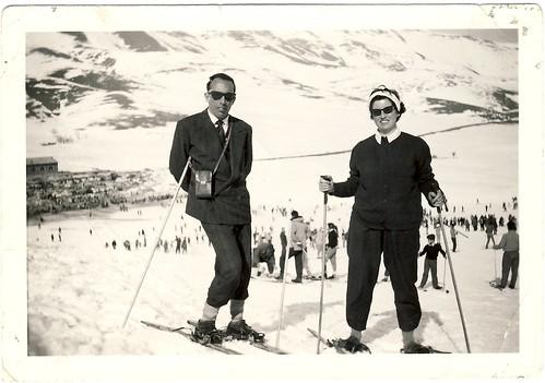 Persian-Italian Couple in Abali Ski Trail, near Tehran, Persia, January 1958 by eshare.