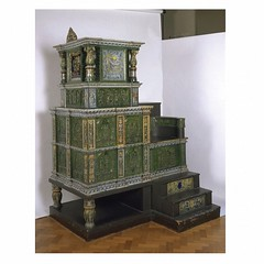Tiled stove, 1577-1578, Germany. Museum no. 498-1868.