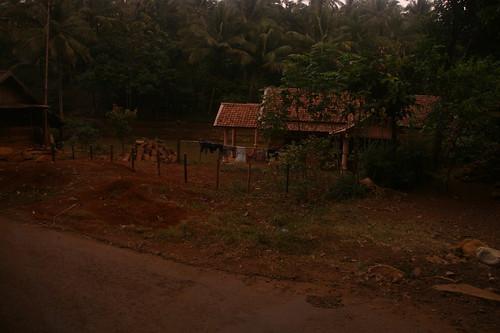 Einfache Behausungen und Farmen am Straßenrand