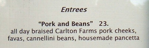 $23 pork and beans at Sel Gris in Portland, Oregon