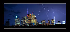 Here Comes The Rain Again (~EvidencE~) Tags: city toronto ontario storm skyline night nikon long exposure remote lightning evidence broadview riverdale d80 location~riverdalepark