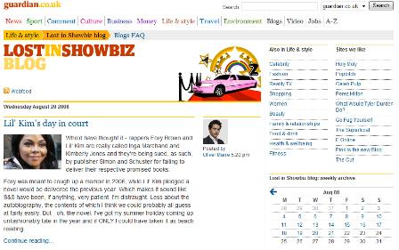 Guardian showbiz blog