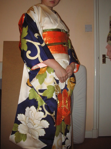 Cream peony furisode - side pose