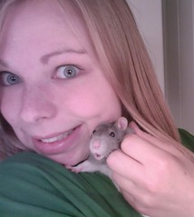 Rebecca's self-portrait with our new family member: Poppy, the rat !