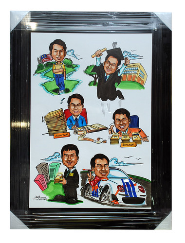 Caricatures for Affinity Equity Partners black and transparent acrylic frame