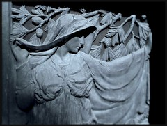 Door Detail: Bohn Mausoleum, Woodlawn Cemetery--Detroit MI (pinehurst19475) Tags: door city shadow art cemetery mystery dark shadows dof michigan profile detroit tint bohn depthoffield relief artnouveau mysterious softfocus elegant tinted lightandshadow woodlawn basrelief misterioso bluetint bronzedoor doordetail puredetroit benjohnson