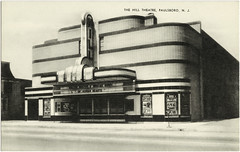 Hills Theatre, Paulsboro NJ, 1938 (Roloff) Tags: cinema film sepia architecture vintage movie newjersey kino postcard 1938 nj karte scan historic card movies artdeco movietheater carte bioscoop cin ansicht paulsboro streamlinemoderne postkaart tarjetapostal hilltheatre ofhumanhearts williamharoldlee