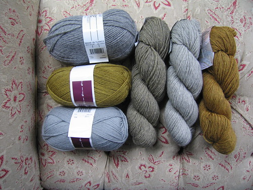 Assortment to test Cable Sweater pattern