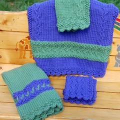 Twisting Vine Spa Set (Poopshe_Bear) Tags: green knitting purple handmade knit handknit vine twist towel dishcloth cotton knitted spa washcloth twisting facecloth