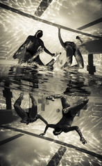 hemispheres (SARA LEE) Tags: girls reflection pool lines sepia back university underwater lisa flip lane mirrored tone edan chapman sarahlee legothenego vivantvie