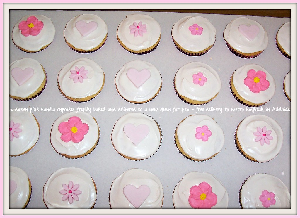 Pretty pink hearts & flowers cupcakes for a new Mum -delivered to many hospitals in Adelaide -free delivery ph: 0438322107 deliciousfood@optusnet.com.au
