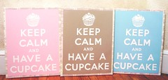 """Keep Calm And Have A Cupcake"" (holiday_jenny) Tags: pink art kitchen vintage cupcakes baking aqua sweet tan retro canvas cupcake bakery taupe paintng ww11"
