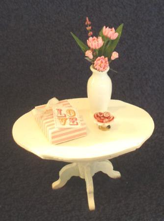 Miniature Table Dressed for Valentines Day
