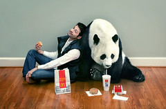 Friends (aknacer) Tags: friends portrait self panda aaron mcdonalds hamburger nace 365days strobist trianglestrobist aknacer aaronnace