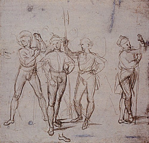 1503  Raphael    Four Soldiers  Metalpoint on blue prepared paper  213x221 cm  Oxford, The Ashmolean museum