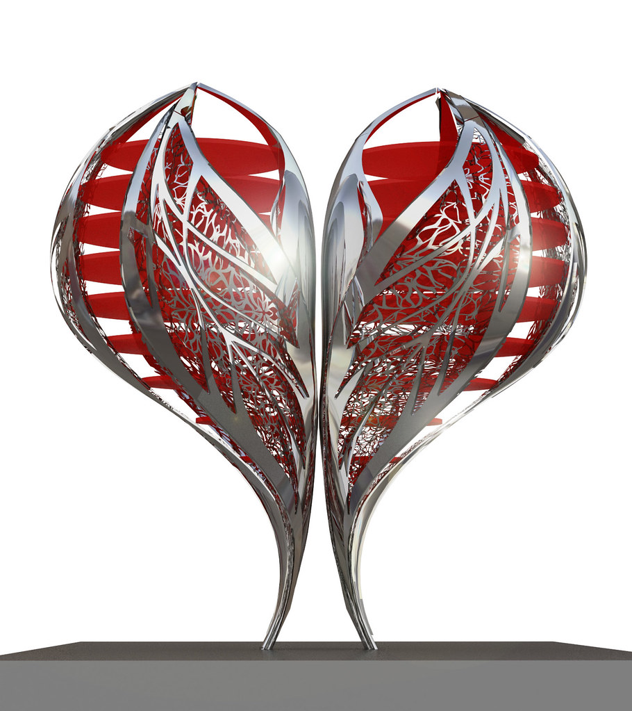 A rendering of the 10-foot-high heart, Gage/Clemenceaus Valentine to the city. (Courtesy Rubenstein Communications)