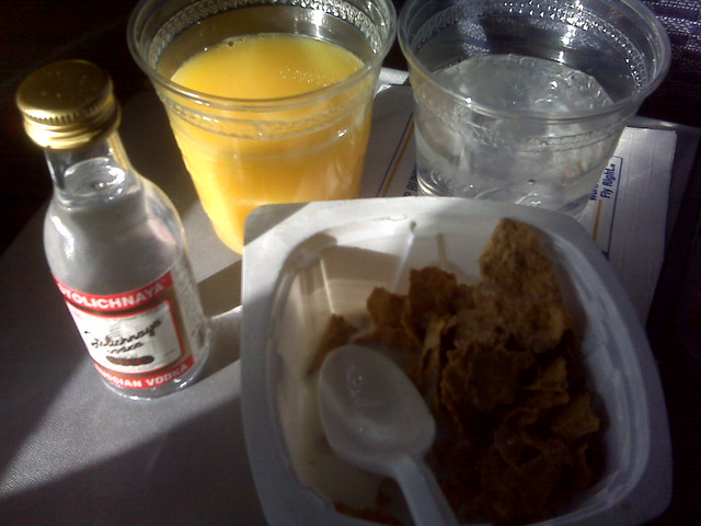 Breakfast of champs - total, water, oj and vodka