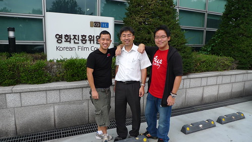 Ming Jin, Mr Oh and I in front of KOFIC