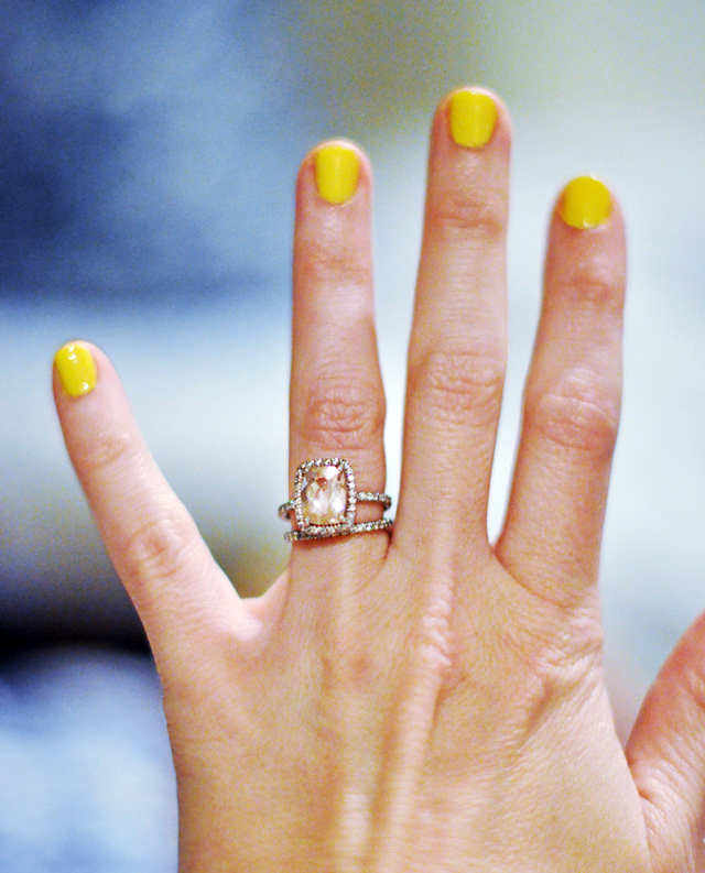yellow nails + my rings