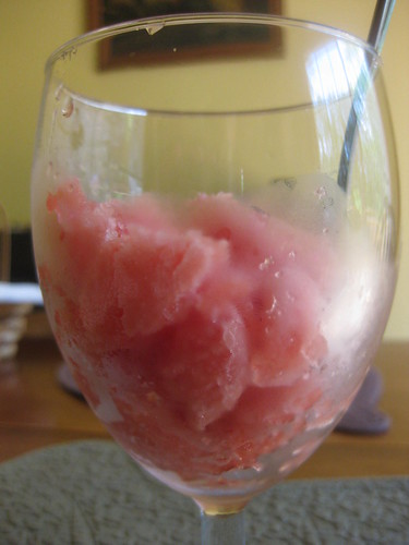 Watermelon sorbet in a wine glass