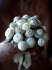 vintage button bouquet (lilfishstudios) Tags: white love recycled handmade pale offwhite sopretty weddingflowers repurposed vintagebuttons specialrequest buttonflowers buttonbouquet lilfishstudios