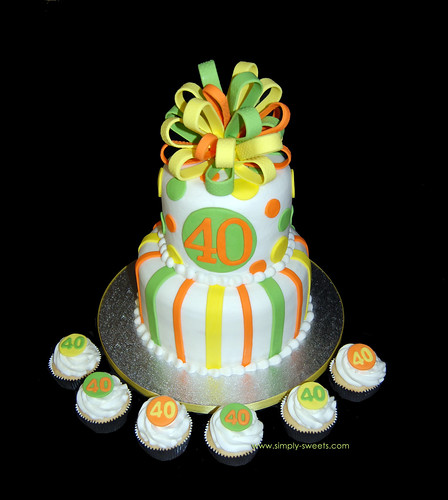40th birthday yellow orange and lime green 2 tier birthday cake
