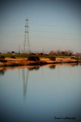 Riverside pylon reflection (Tarquin's Photography.) Tags: reflection water rural river landscape norfolk pylon loveit