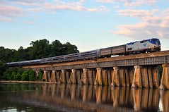Early Morning Northbound (The Mastadon) Tags: morning bridge light water creek train virginia early trains richmond amtrak and potomac passenger fredericksburg powells railroads rfp p42