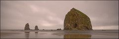 Haystack Rock HDR Pano (Frank-o Fotos) Tags: ocean sea reflection oregon coast nikon cs2 wide sigma d200 cannonbeach haystackrock 1020mm hdr scapes frankfalat frankofotos 7f07