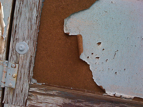 Peeling paint on a disused warehouse door in Silver Spring - Taken With An iPhone